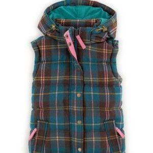 Boden Wool Pembroke Teal Plaid Puffer Vest